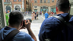 Shooting the Wedding - Lucca, Italy (TravelsWithDan) Tags: candid streetphotography theotherphotographer professionals weddingguests insidethechurchshootingout city urban lucca italy tuscany churchofstmichael canong3x