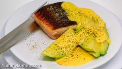 Pan-fried crispy skin salmon, avocado, and leftover homemade Hollandaise sauce. (garydlum) Tags: avocado hollandaisesauce salmon canberra australiancapitalterritory australia