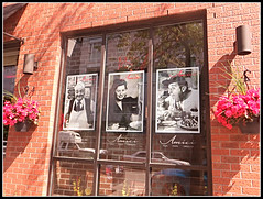 Amici, Friends (bigbrowneyez) Tags: montreal quebec window littleitaly history story food delicious buono bello mangiare brick wall muro ristorante finestra italiano flowers hangingbaskets fun amicifriends stlaurent redbrick rosso reflections sunny sun bright inviting photos details nostalgic nostalgia happy memories exciting storytelling