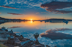 High Clouds, Boats, Reflections and Sunrise on the Bay (Merrillie) Tags: daybreak sunrise nature australia tascott foreshore newsouthwales highcloud koolewong nsw brisbanewater clouds bay morning earlymorning water coastal landscape sky waterscape dawn centralcoast outdoors boats