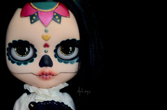 Calavera (Art_emis) Tags: custom blythe doll ooak handmade hand painted reshaped altered carved forehead tattoo calavera dia de los muertos character varsity dean black hair middle parted toys collectable toy photography artemis