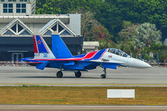 Su-30SM fighter jet of the Russian Knights (phuong.sg@gmail.com) Tags: force aerobatics aerodrome air aircraft airfield airplane airshow army asia aviation demonstrate demonstration display expo fighter fuselage gear group holiday jet knights langkawi lgk lima machine malaysia military parking plane power russia russian russkie show sky speed su30sm sukhoi taxi team view wing