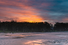 Rivers Edge Sunrise (Merrillie) Tags: daybreak holidays sand sunrise mallabula australia reflections boats lowtide newsouthwales clouds portstephens water scenery tilligerrycreek river colours scenic colourful outdoors waterscape landscape dawn hills bay