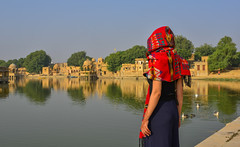 A young Indian woman looking at the lake (phuong.sg@gmail.com) Tags: adult alone asian back background balcony beautiful beauty body calm concept enjoy female free freedom girl happy healthy india jaisalmer lake landscape life lifestyle looking meditation nature outdoor palace people person rajasthan relax river silence sky stand successful summer sunny teen thinking travel traveler trip view water woman young