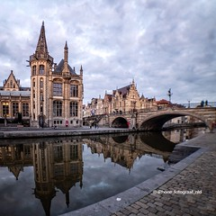 Ghent (iPhone Fotograaf) Tags: bridge ghent church clouds water iphone8plus reflections river sky reflection gand gent