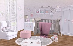 It's on arrival (Rose Sternberg) Tags: second life deco decor home garden interior landscape bee designs shiny shabby event cats in nursery gacha angels babies common rare ultrarare bedroom baby bazar courtain zen creation crib lamp pouf words wall marketplace