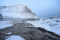 The melting waters of spring (Rudi Verspoor) Tags: lofoten beach norway cold february winter spring white snowy snow arctic countryside beaches beachs sea seascape seaside seafront mountains mountainscape mountain landscape calm tranquil travel nikon d7200 wideangle sigma 1020mm