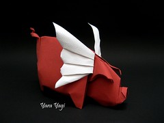When pigs fly! (Yara Yagi) Tags: origami paper papel porco pig thefold ousa