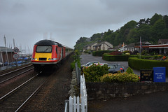 Passing The Club (whosoever2) Tags: uk united kingdom gb great britain scotland nikon d7100 train railway railroad june 2019 westferry dundee yacht club hst class43 43257 1w03 leeds aberdeen mist dreich