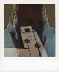 Union Station 14 (tobysx70) Tags: polaroid sx70 time zero timezero film instant expired tz 0906 street station downtown union alameda dtla california ca clock la los angeles shadow tree tower palms palm railroad train railway amtrak metrolink terminus toby subway photography metro hancock divot
