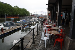 Seats and Boats (lazy south's travels) Tags: bristol avon england english britain british uk boat harbour harbourside table chair deserted pub inn cafe urban city center centre