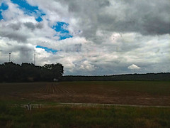 Field And Towers In Wilson. (dccradio) Tags: nc wilson travel trees summer sky plant tree nature clouds train outside outdoors branch afternoon natural outdoor weekend branches cellphone saturday samsung northcarolina bluesky foliage amtrak galaxy transportation greenery wilsoncounty treebranches treebranch treelimbs cellphonepicture saturdayafternoon treelimb goodafternoon j7v smj727v tower field grass yard lawn ag agriculture cloudformation agricultural communicationstower