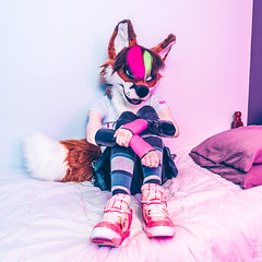 Vixen in her New Shoes (Ice Foxx) Tags: 91e207427274e5 converse fox furry fursuit latex rubber rubbergloves shoes skirt socks vixen