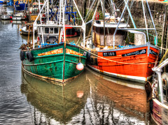 Living Simply, To Earn a Living Fishing (RS400) Tags: wow cool amazing hdr boat boats fishing red green water port harbour uk photography olympus landscape close up flicker travel reflection