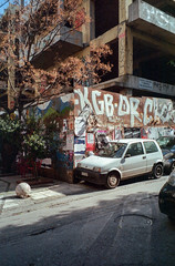 Athens, Greece. (wojszyca) Tags: fuji tiara zoom dl 35mm film compact lomography negative color 100 city urban decay athens greece car auto carspotting abandoned