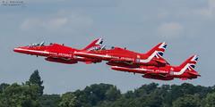 RAF Red Arrows (M J Robinson Photography) Tags: 2018 arrivals riat royalinternationalairtattoo raf fairford thursday british air force royalairforce aerobatic team bae hawk t1 red arrows redarrows jet trainer aviation photography nikon d7100 nikond7100