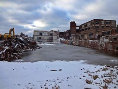 Things around Chicago don't last forever.. (Trebor420) Tags: chicago demo winter 2015 december cloudy ice illinois abandoned snow cold knockdown unionbagpaper southside old