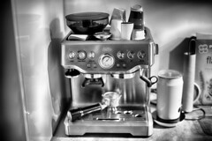 Shiny Little Espresso Machine (Laurens Voogt) Tags: fujifilm xh1 googlenikcollection zhongyi mitakon speedmaster f095 35mm hdr bw blackandwhite espressomachine solis coffee kitchen bokeh