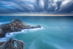 The Sentinel (Francesco Gola) Tags: europe italy la spezia liguria portovenere seascape waterscape landscape church rocks clouds wind storm long exposure bifora view travel blue water sea negative space filters nisi