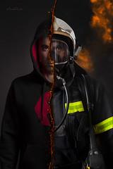 Firefighter... (dMadPhoto) Tags: retratos portraits eyes glance mirada ojos belleza beauty man men firefighter bombero fire fuego fireman madrid flames llamas 112 rescue rescate dmadphoto digitalart digital art dmadphotoart