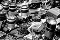 cameras for sale (albyn.davis) Tags: blackandwhite cameras lenses tabletop