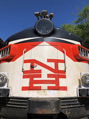 Gone to Texas (Diorama Sky) Tags: railroad us gm texas unitedstates tx rail transportation grapevine generalmotors electromotivedivision red black color nose diesel nh newhaven locomotive fora midcenturymodern matter mcginnis emd diesellocomotive bullnose fl9 herbertmatter grapevinevintagerailroad newyorknewhavenhartford patrickmcginnis dioramasky nh2014 gvrx2014 design graphicdesign corporateidentity logo