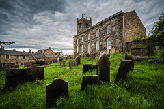 St Bartholomew's Church, Longnor (Dannis van der Heiden) Tags: stbartholomewschurch stbartholomews church historic building grass clouds rainclouds sky longnor england unitedkingdom foliage graves windows graveyard houses wall tree peakdistrict