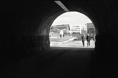 Ennen Oodia (deff0) Tags: zorki4 zorki kmz industar50 industar3550mm agfaapx100 bw black blackandwhite white blackwhite street tunnel negativespace light helsinki helsingfors suomi finland