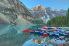 Moraine Lake Oil (Reddad Ford) Tags: morainelake alberta 2017 july lake water mountains canoes color landscape