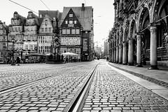 Evening in the City... (Ody on the mount) Tags: anlässe architektur bremen canon fototour g7xii pflastersteine powershot schienen architecture bw blackandwhite monochrome sw schwarzweis freiehansestadtbremen deutschland