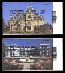 ephemera - Newport Mansions entry tickets (Jassy-50) Tags: ephemera newport rhodeisland entryticket ticket newportmansions mansion