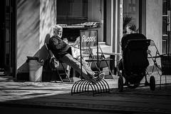 Coffee Time (yannha) Tags: city street copenhagen cafe urban people man coffee blackandwhite bw