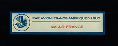Air France, 1934, Mail Label for South America, first Type, front (afvintage) Tags: airfrance cinderella vignette posteaérienne paravion byairmail vignetteautocollante airmaillabel 1934 viaairfrance southamericaairroute routemermoz mermozairroute
