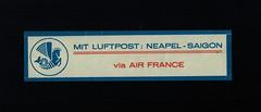 Air France, 1934, Mail Label for Far East, German Version, first Type, front (afvintage) Tags: airfrance cinderella vignette vignetteautocollante paravion byairmail mitluftpost lupo airmaillabel german fareastairroute fareast noguèsairroute routenoguès naplessaïgon neapelsaigon viaairfrance