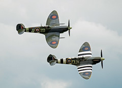 Spitfire's passing.. (mickb6265) Tags: duxford cambridge cambridgeshire imperialwarmuseum iwm dday75thanniversarynormandydeparture supermarinespitfire ouv ml407 mh434 thegracespitfire