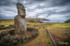 Restoration after the earthquake of 1960 (marko.erman) Tags: rapanui easterisland pacificocean statutes scultpures moai ahutongariki lostcivilisation ancienttimes isolated remote island restoration travel beautiful mysterious earthquake sony wideangle