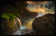 Fit For a Queen (cwaynefox) Tags: gardenisle hawaii kauai limitededition usa unitedstates waterfall fineart gallery hanalei landscape ocean queensbath scenic sunset waves