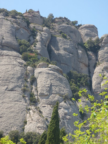 Faces in the mountain at Montserrat - Cliffhanger