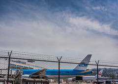 caged dutchman (pbo31) Tags: bayarea california sanmateocounty nikon d810 color june 2019 boury pbo31 sanfranciscointernational sfo airport aviation airline plane travel klm millbrae jal terminal boeing 787 gate fence blue 777