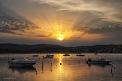Dusk in marine (malioli) Tags: sun sunset sundown dusk sky clouds reflection sea water boat marine port sunrays rays adriatic adriatcsea croatia hrvatska europe canon