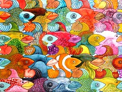 Ling Helen birds & fish (hanks students artwork) Tags: 2019 watercolor advanced hpsc fish tessellation bird