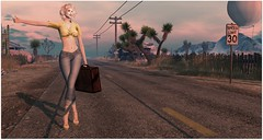 Desert Ruins at Dusty Shores (Sivyaleah (Elora)) Tags: dusty shores second life virtual explore prince desert ruins mirage motel 66 laq noelle marilyn monroe blonde doux jeans blueberry besh t shirt tshirt knotted yellow lemonade ayako heels breathe shoes poppycock le valise pose live fast photography road bento hitchhiker hitchhiking maitreya lara