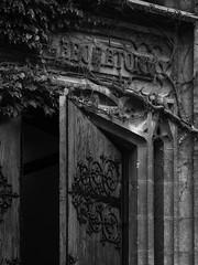 Laboratory Door (Nick Condon) Tags: architecture blackandwhite door hydepark ivy olympus45mm olympusem10 stone uchicago gothic