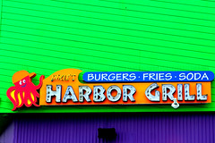 Inkie's Harbor Grill (dangaken) Tags: ca cali california la losangeles neon neonsign harborgrill pacificpark santamonicapier pier santamonica route66 ocean pacificocean orangecounty losangelesca squid octopus burgers fries cola foodstand food restaurant green purple inkies inkie summer2011 canon50d 50d