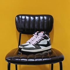 Travis Scott's x Nike Air Jordan 1. (Andy @ Pang Ket Vui ( shootx2 )) Tags: travis scott nike air jordan aj1 sneaker cactus jack leather chair fujifilm x100f high og retro