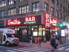 2019 Smiths Bar Restaurant Grill 1058 (Brechtbug) Tags: 2019 smiths bar restaurant grill corner 44th street 8th avenue west nyc 06112019 rush hour pedestrians milling around red green neon light sign hell s kitchen clinton new york city taxi cab hells afternoon evening subway entrance globe film smith