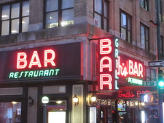 2019 Smiths Bar Restaurant Grill 1057 (Brechtbug) Tags: 2019 smiths bar restaurant grill corner 44th street 8th avenue west nyc 06112019 rush hour pedestrians milling around red green neon light sign hell s kitchen clinton new york city taxi cab hells afternoon evening subway entrance globe film smith