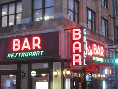 2019 Smiths Bar Restaurant Grill 1056 (Brechtbug) Tags: 2019 smiths bar restaurant grill corner 44th street 8th avenue west nyc 06112019 rush hour pedestrians milling around red green neon light sign hell s kitchen clinton new york city taxi cab hells afternoon evening subway entrance globe film smith