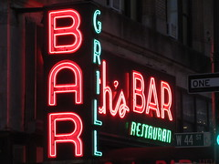 2019 Smiths Bar Restaurant Grill 1055 (Brechtbug) Tags: 2019 smiths bar restaurant grill corner 44th street 8th avenue west nyc 06112019 rush hour pedestrians milling around red green neon light sign hell s kitchen clinton new york city taxi cab hells afternoon evening subway entrance globe film smith