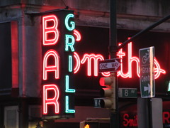2019 Smiths Bar Restaurant Grill 1051 (Brechtbug) Tags: 2019 smiths bar restaurant grill corner 44th street 8th avenue west nyc 06112019 rush hour pedestrians milling around red green neon light sign hell s kitchen clinton new york city taxi cab hells afternoon evening subway entrance globe film smith